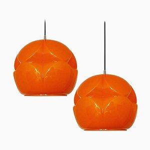 Geometrical Cast Opaque Orange Glass Fixtures from Peill & Putzler, Set of 2