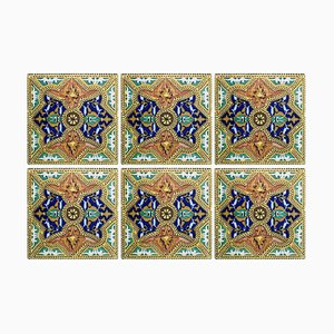 Antique Six Ceramic Tiles, Onda, Spain Valencia, 1900s, Set of 6