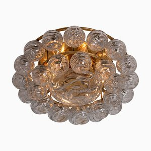 Large Flush Mount Light Fixture in Glass, Brass and Nickel from Doria, 1960s
