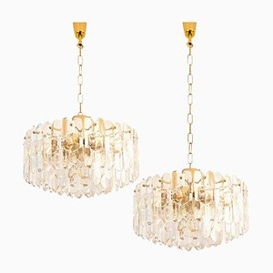 Large Palazzo Light Fixture in Gilt Brass and Glass by J. T. Kalmar