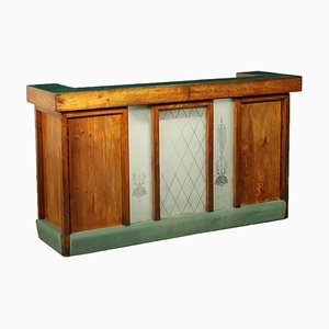 Reception Desk in Larch Glass and Vinyl, Italy, Early 900s