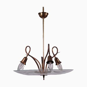 Brass and Glass Ceiling Lamp, Italy, 1950s