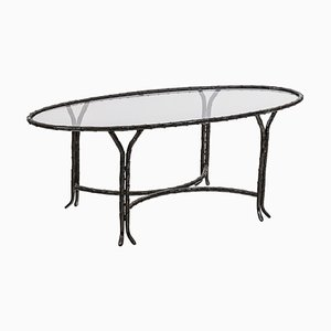Patinated Bronze Coffee Table in Oval Shape, 1970s