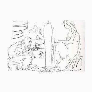 Litografia originale di Pablo Picasso, The Painter and His Model, 1962