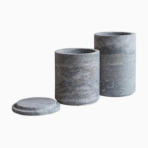 Travertine Silver Vases, Set of 2