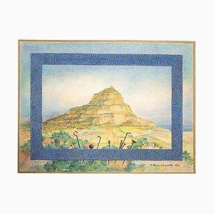 Leo Guida, Landschaft, Original Tempera, 1980