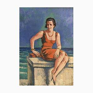 Percival Pernet, Jeune Femme au Collier de Perles Rouge, 1956
