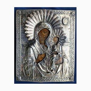 Analogion Bild der Mutter Gottes Zärtlichkeit in einer Relief Silberfassung