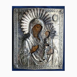 Analogion Image of the Mother of God Tenderness in a Relief Silver Setting