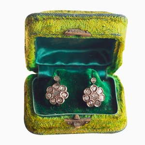 Antique 12K Gold Earrings with Rosette Cut Diamonds, Early 900s, Set of 2