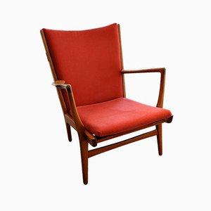 Roter AP-15 Armlehnstuhl von Hans J. Wegner für AP Stolen, 1950er