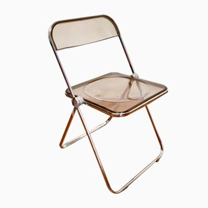 Plia Folding Chair in Light Brown Smoked Acrylic by Giancarlo Piretti for Castelli, Italy, 1970s
