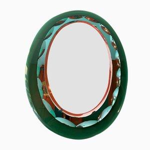 Mid-Century Emerald Green 3-Layer Mirror from Fontana Arte