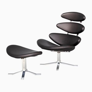 Corona EJ 5 Fauteuil and Ottoman by Poul M. Volther for Erik Ole Jørgensen, Set of 2