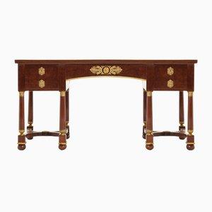 Französischer Bureau Plat Schreibtisch aus Plum Pudding Mahagoni, 19. Jh