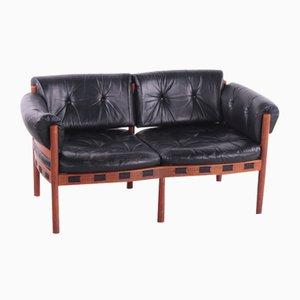 Vintage Black Leather 2-Seater Sofa by Sven Ellekaer for Coja, 1960s