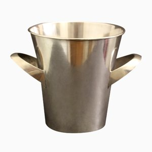 Vintage Silver-Plated Metal Wine Cooler by Wilhelm Wagenfeld for WMF, 1950s