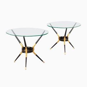 Italienische Beistelltische aus Metall, Messing & Glas im Stil von Cesare Lacca, 1960er, 2er Set