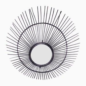 Sehr großer französischer Bambus Sonnen Spiegel, 1960er