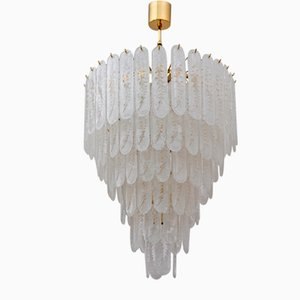 Chandelier with 6-Storey Glass of Murano Grit and Brass, 1970s