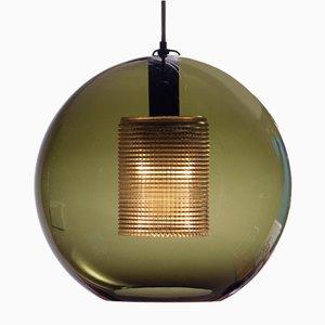 Dunkelgrüne Kugelleuchte aus Glas von Carl Fagerlund für Orrefors, Schweden, 1960er