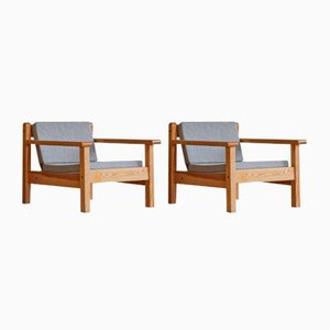 Mid-Century Danish Lounge Chairs in Pine with New Canvas Cushions, 1980s, Set of 2