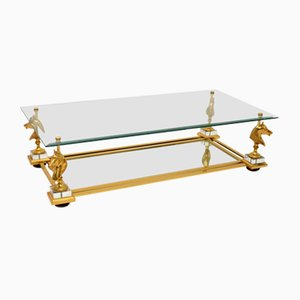 Vintage Brass & Glass Coffee Table, 1970s