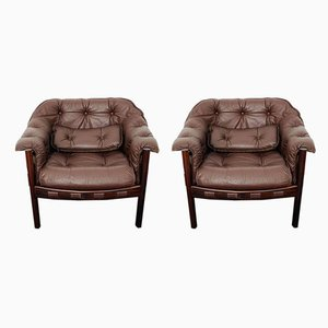 Leather Lounge Chairs by Arne Norell, 1960s, Set of 2