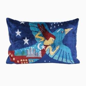 Vintage Turkish Bohemian Ikat Cushion Cover with Bird & Woman