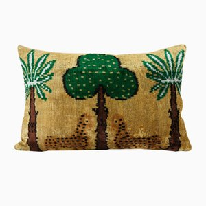 Vintage Turkish Bohemian Cushion Cover with Tiger & Tree Design