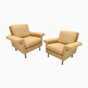 Mid-Century Honey Yellow Armchairs, Italy, Set of 2
