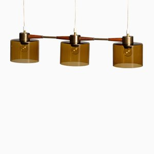Pendant Lamp with Amber Glass Shades by Carl Fagerlund for Orrefors Sweden, 1960s