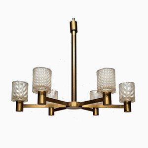 6-Arm Chandelier in Crystal & Brass by Carl Fagerlund for Orrefors, 1950s