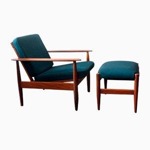 Mid-Century Sessel aus Teak mit Fußhocker in Blau, Grün & Teak, 1960er