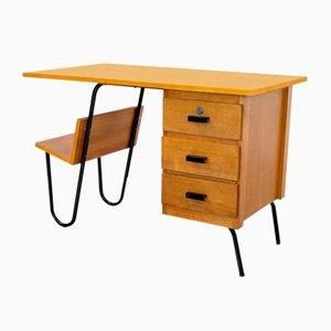 Französischer Eichenholz Schreibtisch von Spirol, 1950er