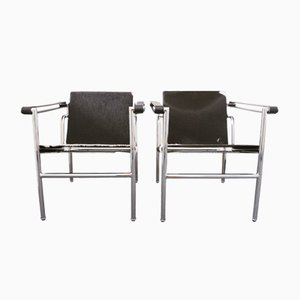Pony Skin LC1 Sling Armchair with Tubular Frame by Le Corbusier, Pierre Jeanneret & Charlotte Perriand