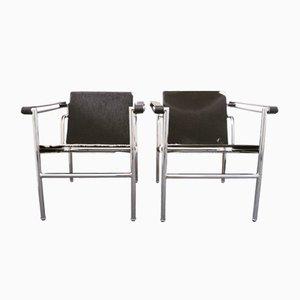 Pony Skin LC1 Sling Armlehnstuhl mit Rohrrahmen von Le Corbusier, Pierre Jeanneret & Charlotte Perriand