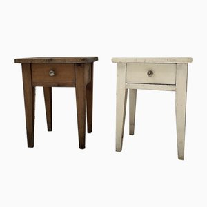 Patinated Wooden Bedside Tables, Set of 2