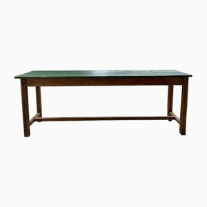 Pine & Beech Farmhouse Table with Green Patina