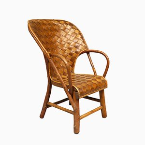 French Chestnut Children's Armchair, 1970s