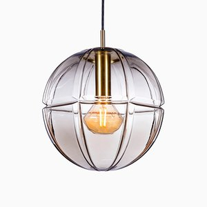 Mid-Century Pendant Lamp in Smoked Glass from Peill & Putzler, 1970s