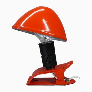 Red Clamp Lamp with Adjustable Aluminum Hat, Denmark, 1950s