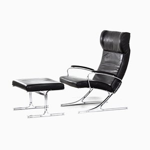 Berlin Lounge Chair with Footstool by Meinhard Von Gerkan for Walter Knoll, 1970s, Set of 2
