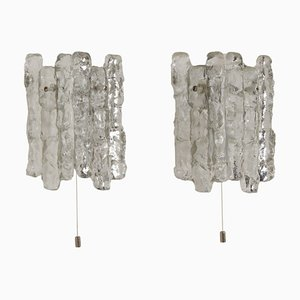 Wall Lamps in Frosted Ice Glass by J. T. Kalmar for Kalmar Franken KG, 1960s, Set of 2