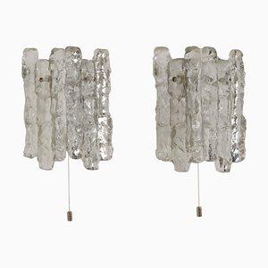 Wandlampen aus Eisglas von JT Kalmar für Kalmar Franken KG, 1960er, 2er Set