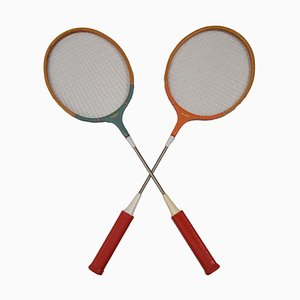 Vintage Badminton Rackets, 1980s, Set of 2