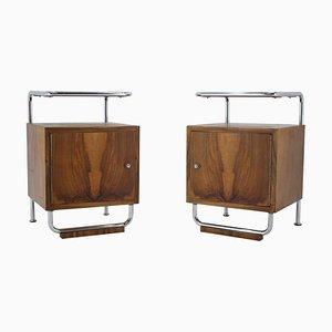 Tables de Chevet Bauhaus en Plaqué Chrome, Tchécoslovaquie, 1930s, Set de 2