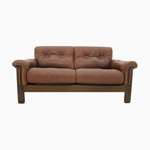 Brown Leather 2-Seater Sofa, Denmark, 1970s