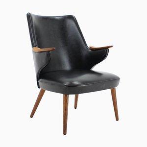 Black Leatherette Armchair by Erling Olsen, Denmark, 1970s