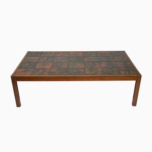 Large Vintage Ceramic Tile Topped Coffee Table, 1970s
